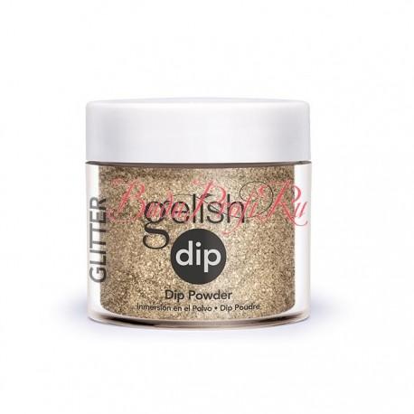 "Gelish DIP powder ""Glitter & Gold"", 23g - акриловая пудра ""Блеск золота"""